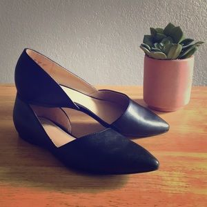 Black pointed toe flats. Size 8